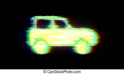 3d glitch car print 80 Futuristic technology style 4k
