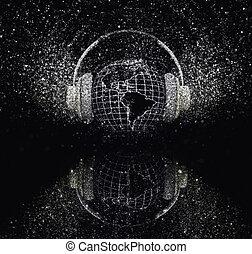 3D glitter globe with headphones