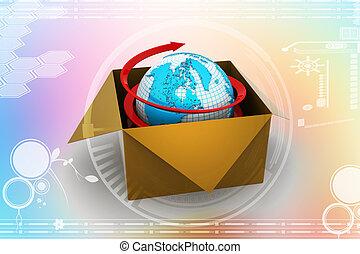 3d global business commerce concept