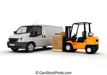 3d, global, carga, transporte, concepto