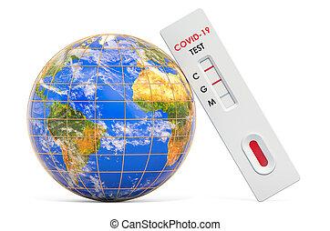 3d, global, essai, essai, globe., covid-19, anticorps, coronavirus, rendre, concept, la terre