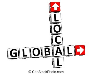 3D Global Local Crossword on white background