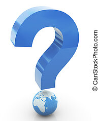 3d global question mark - 3d question mark with globe