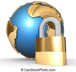 3d Global security concept