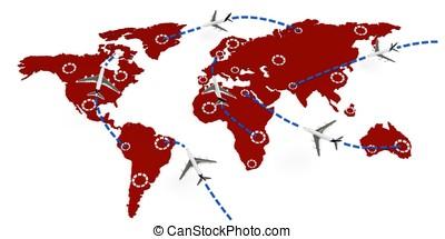 3d, global, vuelo, rutas, concepto