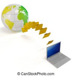 3d, globale, trasferimento file, concetto