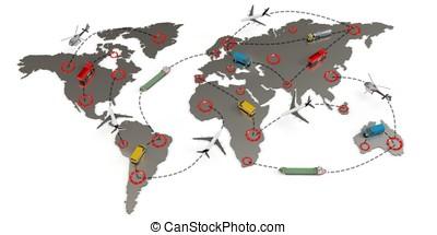 3d, globale, trasporto, itinerari, concetto