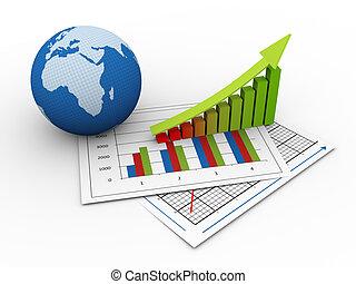 3d, globalny, finansowy wzrost