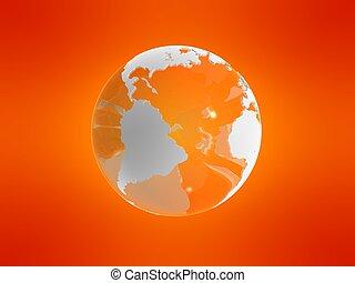 3d globe - 3d rendered illustration of a globe on an orange ...