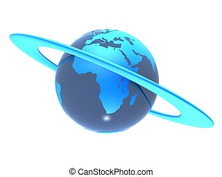 3d globe - 3d rendered illustration of a ring around a globe