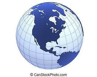 3d globe - 3d rendered illustration of three blue globes