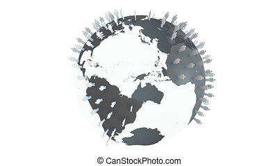 3d globe about technology