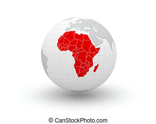 3d., globe., afrika.