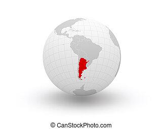 3d., globe., argentina.