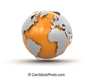3d Globe. Image with clipping path