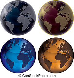 3d Globe - Color set - Set of color globes, isolated on...