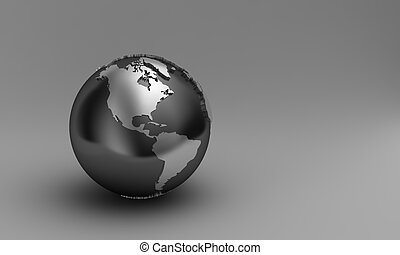 3D globe - Globe showing North and South america over ...