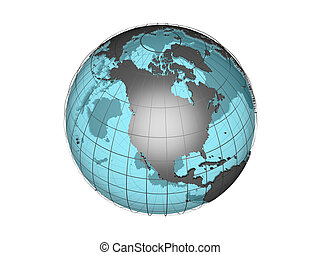3d globe N America