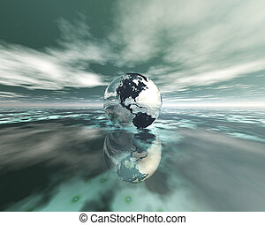 3D globe on water