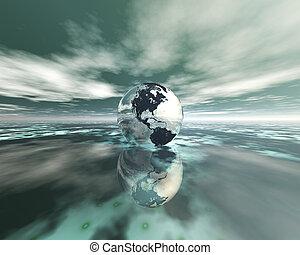3D globe on water