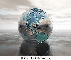 3D globe on water in silver