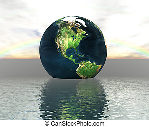 3D globe on water with a rainbow