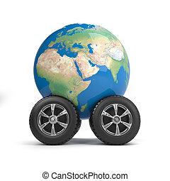 3d Globe on wheels
