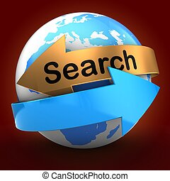 3d globe over red background search text