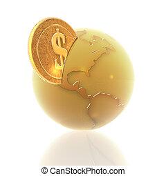 3d, globe, pièces, isolé, blanc