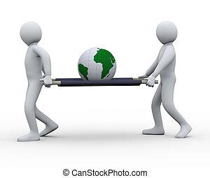 3d, globe, porter, économie, gens