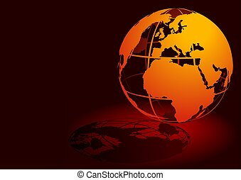 3D Globe - Red - Highly detailed and coloured illustration