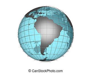 3d globe S America