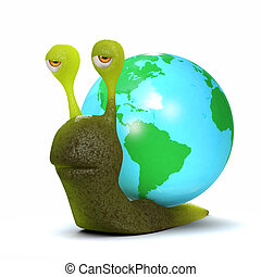 3d Globe snail - 3d render of a snail with a globe shell