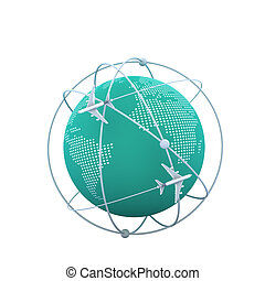 3d, globe, voler, autour de, avions