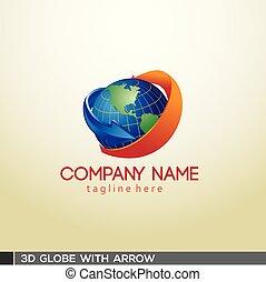 3D Globe with arrow