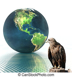 3D globe with eagle