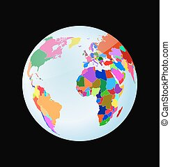 3d globe with political world map . toy style earth sphere