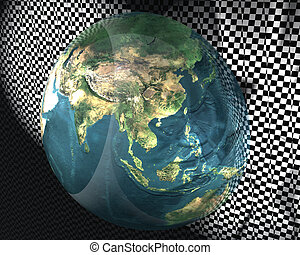 3D globe with racing flag
