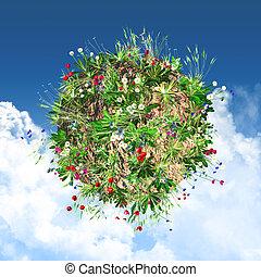 3D globe with wild flowers