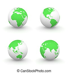 3D Globes in White and Green