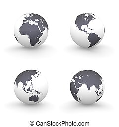 3D Globes in White and Shiny Black