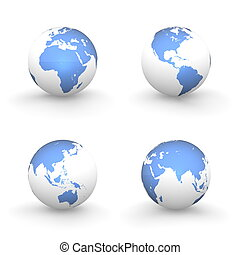 3D Globes in White and Shiny Blue
