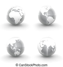 3D Globes in White and Shiny Brushed Metal