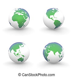 3D Globes in White and Shiny Green-Blue