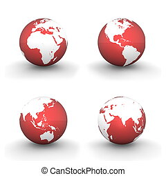 four views of a 3D globe with white continents and a shiny red ocean