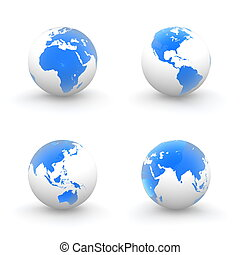 3D Globes in White and Shiny Transparent Blue
