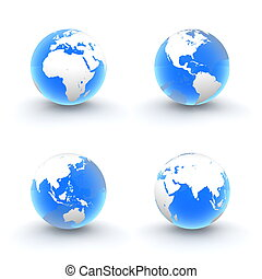 3D Globes in White and Shiny Transparent Blue - four views...