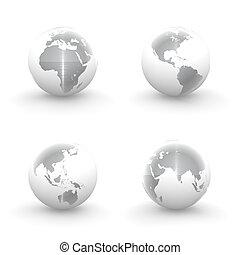 3d, globi, in, bianco, e, metallo spazzolato