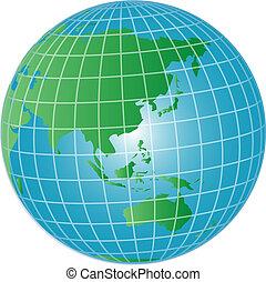 3d, globo, asia, e, australia