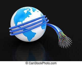 3d, globo, con, óptico, fibra, cable
